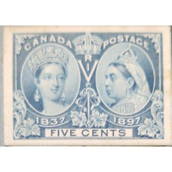 O) 1897 CANADA, DIE PROOF, QUEEN VICTORIA 1837 AND QUEEN VICTORIA 1897 SC 54 5c, XF