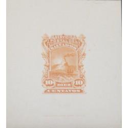 O) 1887 EL SALVADOR, DIE PROOF, VOLCANO SC 19 10c orange, AMERICAN BANK NOTE, XF