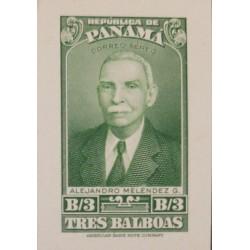O) 1942 PANAMA, DIE PROOF, ALEJANDRO MELENDEZ,PRÓCER INDEPENDENCIA PANAMÁ, AMERICAN BANK NOTE, XF