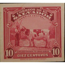 J) 1938 EL SALVADOR, COW, NATIONAL SPECIMEN OF 75 POUNDS DAILY, AMERICAN BANK NOTE, DIE PROOF, IMPERFORATED