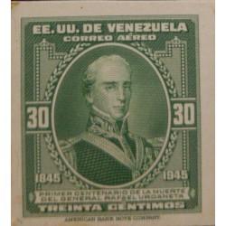 J) 1946 VENEZUELA, FIRST CENTENIAL OF GENERAL RAFAEL URDANETA, AMERICAN BANK NOTE, DIE PROOF, IMPERFORATED