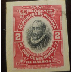 J) 1907 PANAMA, FERNANDEZ DE CORDOBA, CARMIN, AMERICAN BANK NOTE, DIE PROOF, IMPERFORATED