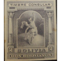 J) 1920 BOLIVIA, CONSULAR STAMP, AMERICAK BANK NOTE, DIE PROOF, IMPERFORATED