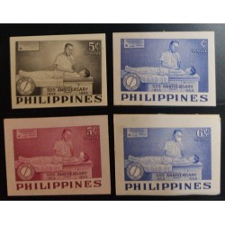 J) 1953 PHILIPPINES, 50TH ANNIVERSARY DOCTOR EXAMINING, SET OF 4, 1 PHOTOMECANIC, AMERICAN BANK NOTE, DIE PROOF, IMPERFORATED