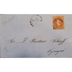 J) 1853 CHILE, COLON, CIRCULATED COVER, FROM CALDERA TO COPIAPO