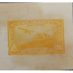 J) 1937 NICARAGUA, PRESIDENTIAL PALACE, WORK AND ORDER, 20 CENTS YELLOW, AMERICAN BANK NOTE, DIE PROOF, IMPERFORATED