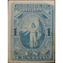 J) 1887 EL SALVADOR, AMERICAN BANK NOTE, DIE PROOF, IMPERFORATED, ALLEGORICAL FIGURE OF EL SALVADOR, UPU, UN CENT BLUE