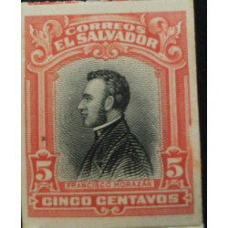 J) 1912 EL SALVADOR, AMERICAN BANK NOTE, DIE PROOF, IMPERFORATED, FRANCISCO MORAZAN, 5 CENTS ORANGE