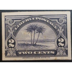 J) 1927 LIBERIA, AMERICAN BANK NOTE, DIE PROOF, IMPERFORATED, OIL PALM, TWO CENTS, BLUE