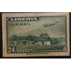 J) 1944 LIBERIA, AMERICAN BANK NOTE, DIE PROOF, IMPERFORATED, PLANE OVER HOUSE, 24 CENTS GREEN