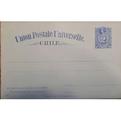 J) 1895 CHILE, POSTCARD, POSTAL STATIONARY, LIGHT BLUE, COLON, UNIVERSAL POSTAL UNION, XF