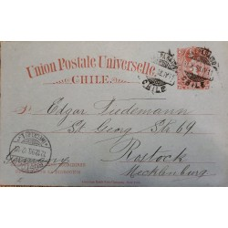 J) 1898 CHILE, COLON NUMERAL, 3 CENTS RED, POSTCARD, POSTAL STATIONATY, POSTAL UNIVERSAL UNION, CIRCULATED