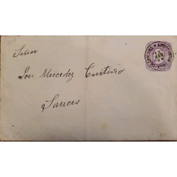 J) 1895 CHILE, 5 CENTS PURPLE, POSTAL STATIONARY, CIRCUATED COVER, FROM TALCAHUANO TO AMBULANCIA