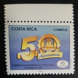 A) 1993, COSTA RICA, 50 YEARS OF ANNIVERSARY, CHAMBER OF INDUSTRY OF COSTA RICA FOUNDED IN 1943, 45₡, MNH