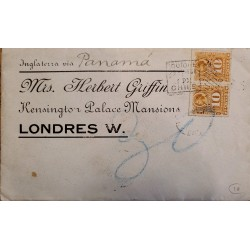 J) 1877 CHILE, NUMERAL 10 CENTS, PAIR, COLON, CIRCULATED COVER, FROM ENGLAND VIA PANAMA