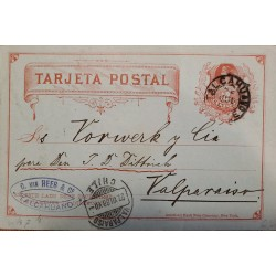J) 1888 CHILE, COLUMBUS, NUMERAL 2 CENTS, POSTAL STATIONARY, POSTCARD, FROM TALCAHUANO TO VALPARAISO