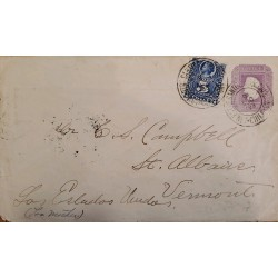 J) 1898 CHILE, COLON, NUMERAN, 5 CENTS BLUE, 5 CENTS PURPLE, POSTAL STATIONARY, FROM CHILE TO AMBULANCIA