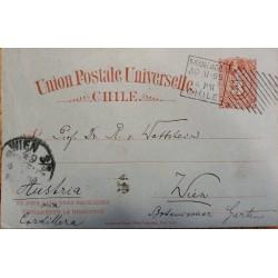 J) 1877 CHILE, NUMERAL 3 CENTS, ORANGE, COLON, CIRCULATED COVER, FROM CHILE TO AUSTRIA, VIA CORDILLERA