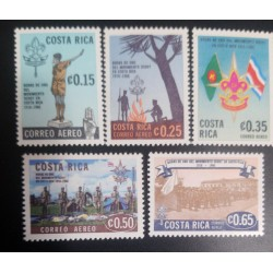 A) 1968, COSTA RICA, SCOUT MOVEMENT 50 ANNIVERSARY, SET, MNH, 5 VALUES