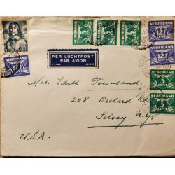 I) 1945 NEDERLAND, GULL, MULTIPLES STAMPS, AIR MAIL, CIRCULATED COVER FROM NEDERLANDS TO SOLVAY , USA, BLACK CANCELLATION