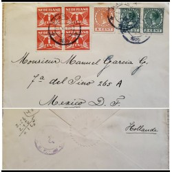 I) 1935 NEDERLAND, SET OF 4, RED, QUEEN WILHELMINA, SET OF 3, CIRCULATED COVER FROM HOLLAND TO MEXICO D.F, BLACK CANCELLATION