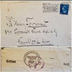 I) 1940 NEDERLAND, QUEEN WILHELMINA, SAPPHIRE, NAZI EMBLEM, CIRCULATED COVER FROM NEDERLAND TO NEW YORK, BLACK CANCELLATION