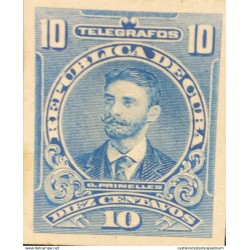 L) 1910 CARIBE, PRIMELLES, TELEGRAPH, 10C, BLUE, DIE PROOFS AMERICAN BANK NOTE