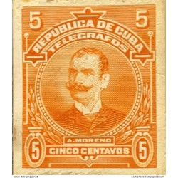 L) 1910 CARIBE, GENERAL A. MORENO, ORANGE, 5C, TELEGRAPH, DIE PROOFS AMERICAN BANK NOTE