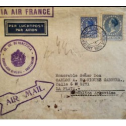 I) 1929 NEDRLAND, QUEEN WILHELMINA, AIR MAIL, CIRCULATED COVER FROM NEDERLAND TO LA PLATA, ARGENTINA, BLACK CANCELLATION
