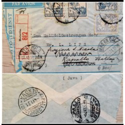 I) 1931 NEDERLANDS INDIES, QUEEN WILHELMINA, BLUE STAMP, LILAC STAMP, AIR MAIL
