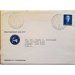 I) 1931 NEDERLANDS, QUEEN JULIANA, BLUE STAMP, CIRCULATED COVER FROM NEDERLANDS TO SOLVAY NEW YORK