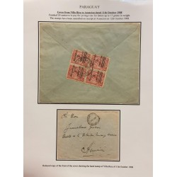 A) 1908, PARAGUAY, COVER FROM VILLA RICA TO ASUNCION,