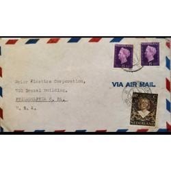 I) 1948 NEDERLAND, QUEEN WILHELMINA, SET OF 2, PURPLE, QUEEN JULIANA, DARK BROWN, AIR MAIL