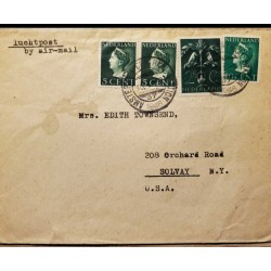 I) 1946 NEDERLAND, QUEEN WILHELMINA, SET OF 3, DARK GREEN, BRIGHT GREEN, DARK BLUE GREEN