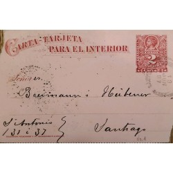 J) 1887, CHILE, COLON, 2 CENTS, POSTCARD POSTAL STATIONARY, FROM CHILE TO SANTIAGO