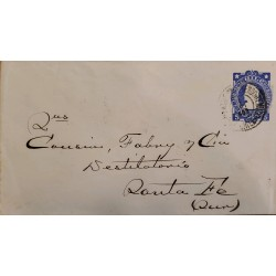J) 1885 CHILE, COLON, 5 CENTS BLUE, POSTAL STATIONARY, AMBULANCIA, CIRCULATED COVER, FROM CHILE TO SANTA FE