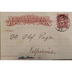 J) 1897 CHILE, COLON 5 CENTS, POSTCARD, POSTAL STATIONARY, FROMO CHILE TO VALPARAISO