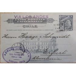 J) 1800 CHILE, COLON 3 CENTS GRAY, UNIVERSAL POSTAL UNION, AMERICAN BANK NOTE, POSTCARD, POSTAL