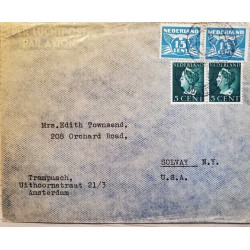 I) 1939 NEDERLAND, QUEEN WILHELMINA, BLUE STAMP, CIRCULATED COVER FROM NEDERLAND TO SOLVAY