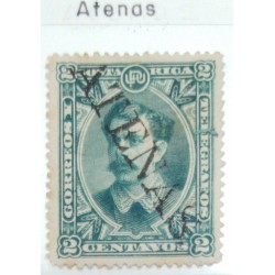 A) 1897, COSTA RICA, FAKE CANCELLATION FROM ATENAS, BLUE