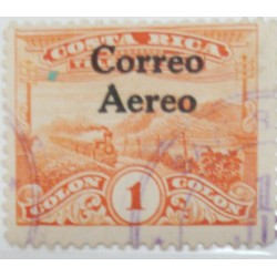 A) 1945, COSTA RICA, TRAIN RAILROAD, FAKE OVERPRINT, NICE REFERENCE