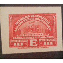 J) 1920 VENEZUELA, AMERICAN BANK NOTE, DIE PROOF, COMPULSORY SOCIAL INSURANCE FOR WORKERS AND FAMILY MEMBERS, IMPERFORATED