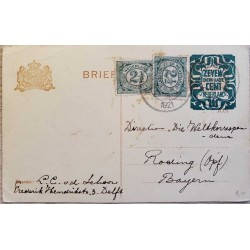 I) 1921 NEDERLAND, SET OF 2, DEEP GREEN, CIRCULATED COVER FROM NEDERLAND TO BAYERN, GERMANY, BLACK CANCELLATION