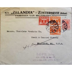 I) 1935 NEDERLAND, GULL, ORANGE STAMP, RED STAMP, QUEEN WILHELMINA, CIRCULATED COVER FROM NEDERLAND TO BALTIMORE, USA