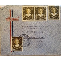 I) 1948 NEDERLAND, INVESTITURE OF QUEEN JULIANA, SET OF 4, DARK BROWN, CIRCULATED COVER FROM NEDERLANDS TO PHILADELPHIA, USA