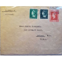 I) 1945 NEDERLAND, QUEEN WILHELMINA, DARK GREEN, BRIGHT GREEN, VERMILION, AIR MAIL