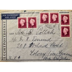 I) 1947 NEDERLAND, QUEEN WILHELMINA, SET OF 6, BRIGHT RED, AIR MAIL