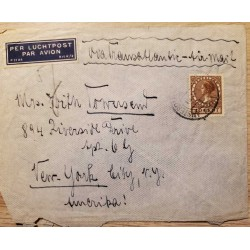 I) 1926 NEDERLAND, QUEEN WILHELMINA, DEEP BROWN, AIR MAIL, CIRCULATED COVER FROM NEDERLANDS TO NEW YORK, USA, BLACK CANCELLATION