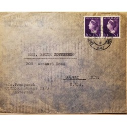 I) 1947 NEDERLAND, QUEEN WILHELMINA, PURPLE, AIR MAIL, CIRCULATED COVER FROM AMSTERDAM TO SOLVAY, NEW YORK, USA