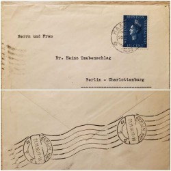 I) 1938 NEDERLAND, REIGN OF QUEEN WILHELMINA, 40TH ANNIV, CIRCULATE COVER FROM NEDERLAND TO BERLIN, BLACK CANCELLATION